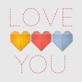 Οι καρδιές Origami σας αγαπούν ευχετήρια κάρτα στοκ φωτογραφία με δικαίωμα ελεύθερης χρήσης