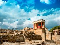 Οι καταστροφές του παλατιού της Κνωσού (ο λαβύρινθος του Minotaur) στην Κρήτη Στοκ Εικόνες