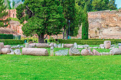Οι καταστροφές των διάσημων ρωμαϊκών λουτρών Caracalla (Thermae Antoninianae) στην ηλιόλουστη ημέρα Στοκ Εικόνες