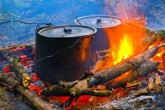 οι κατσαρόλες πυρκαγιά&si Στοκ φωτογραφία με δικαίωμα ελεύθερης χρήσης