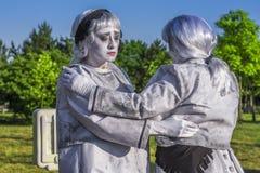 Οι καλλιτέχνες έντυσαν ως αγάλματα διαβίωσης στοκ φωτογραφία με δικαίωμα ελεύθερης χρήσης