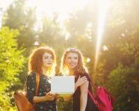Οι καλύτεροι φίλοι στην πόλη σταθμεύουν με το lap-top Στοκ Φωτογραφίες