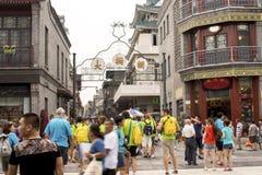 Οι κινεζικοί και ξένοι τουρίστες στο Πεκίνο dashilan Στοκ Φωτογραφία