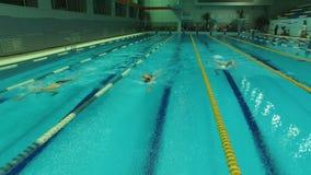 Οι κολυμβητές ανταγωνίζονται στην ομάδα τριών ατόμων απόθεμα βίντεο