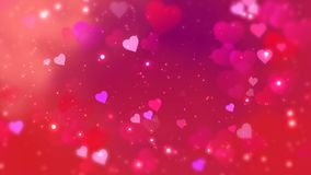 Οι κόκκινες καρδιές εμφανίζονται στο λάμποντας υπόβαθρο Αφηρημένη ζωτικότητα βρόχων διακοπών ημέρας βαλεντίνων απεικόνιση αποθεμάτων