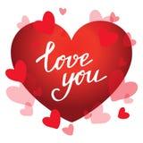 Οι κόκκινες καρδιές και η χειρόγραφη φράση σας αγαπούν ρομαντικό διάνυσμα απεικόνισης καρτών απεικόνιση αποθεμάτων