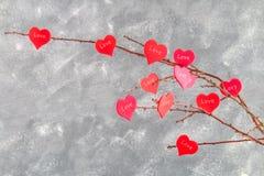 Οι κόκκινες καρδιές με μια αγάπη επιγραφής κρεμούν στους κλάδους σε ένα γκρίζο συγκεκριμένο υπόβαθρο απομονωμένο διάφορο διάνυσμα Στοκ Εικόνα