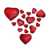 Οι κόκκινες καρδιές με το θέμα ημέρας του βαλεντίνου δίνουν τα συρμένα σύμβολα Στοιχεία για την κάρτα greetin, πρότυπο, έμβλημα απεικόνιση αποθεμάτων