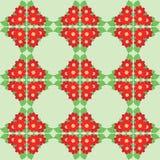 Οι κόκκινες ντάλιες ανθίζουν με τα πράσινα φύλλα στο ανοικτό πράσινο άνευ ραφής σχέδιο - διανυσματικό υπόβαθρο με τη floral διακό στοκ εικόνα