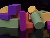 Οι κύβοι που οι γεωμετρικές μορφές χρωμάτισαν τον πίνακα σχολιάζουν το τέταρτο σπιτιών παιδιών ` s οικοδομικού υλικού παιδιών εκπ στοκ φωτογραφία με δικαίωμα ελεύθερης χρήσης