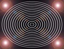 Οι κύκλοι στη γραπτή/ψηφιακή αφηρημένη fractal εικόνα με μια εγκύκλιο σχεδιάζουν σε γραπτό Στοκ Φωτογραφία