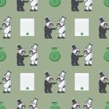 Οι κύριοι τινάζουν τα χέρια Η τσάντα των χρημάτων Η σύμβαση υπογράφεται διανυσματική απεικόνιση