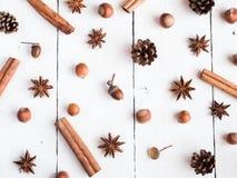 Οι κώνοι έλατου αστεριών καρυκευμάτων ραβδιών κανέλας στο άσπρο ξύλινο επίπεδο υποβάθρου βρέθηκαν Στοκ φωτογραφίες με δικαίωμα ελεύθερης χρήσης