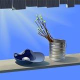 Οι κλάδοι άνοιξη με βγάζουν φύλλα ενάντια στο μπλε ουρανό Στοκ Εικόνα
