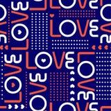 Οι λέξεις αγάπης, και οι μίνι καρδιές με τη γραμμή σημείων Πόλκα κύκλων μέσα το άνευ ραφής σχέδιο σχεδίων διάθεσης βαλεντίνων ύφο διανυσματική απεικόνιση
