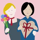 Οι λεσβιακοί multiethnic βαλεντίνοι συνδέουν ερωτευμένο στοκ εικόνες με δικαίωμα ελεύθερης χρήσης