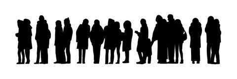 Οι μακριοί άνθρωποι περιμένουν στη σειρά το σύνολο 2 σκιαγραφιών ελεύθερη απεικόνιση δικαιώματος