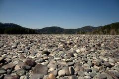 Οι μεγάλες όχθεις του ποταμού Katun καλύπτονται με τις στρογγυλές πέτρες με τα υψηλά βουνά στο υπόβαθρο Gorny Altai, Σιβηρία, Ρωσ στοκ εικόνες