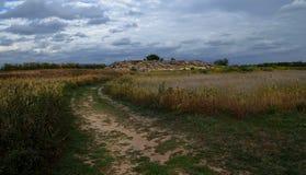 Οι μεγάλοι λίθοι στο Barrens βρίσκονται στην άμμο ανάμεσα στο σκούρο μπλε ουρανό πριν από τη θερινή βροχή στοκ εικόνα με δικαίωμα ελεύθερης χρήσης
