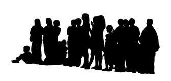 Οι μεγάλες σκιαγραφίες ομάδων ανθρώπων θέτουν 3 ελεύθερη απεικόνιση δικαιώματος