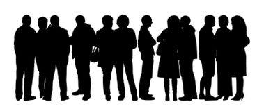 Οι μεγάλες σκιαγραφίες ομάδων ανθρώπων θέτουν 7 διανυσματική απεικόνιση