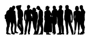 Οι μεγάλες σκιαγραφίες ομάδων ανθρώπων θέτουν 8 διανυσματική απεικόνιση