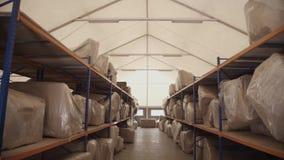 Οι μεγάλες τσάντες στο χαρτόνι βρίσκονται στα ξύλινα ράφια στην αποθήκευση Παν οριζόντιος απόθεμα βίντεο