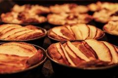 Οι μικρές σπιτικές πίτες μήλων έψησαν πρόσφατα κάθε μια στη φόρμα της στοκ φωτογραφία με δικαίωμα ελεύθερης χρήσης