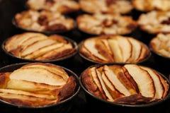 Οι μικρές σπιτικές πίτες μήλων έψησαν πρόσφατα κάθε μια στη φόρμα της στοκ φωτογραφίες με δικαίωμα ελεύθερης χρήσης