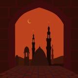 Οι μουσουλμανικές διακοπές Ramadan Κάρτα υπό μορφή αψίδας Σύμβολο διακοπών 1 πτήση s πουλιών απεικόνιση Στοκ φωτογραφία με δικαίωμα ελεύθερης χρήσης