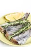Οι μπακαλιάροι αλιεύουν με το δεντρολίβανο και το λεμόνι στο πιάτο με το άσπρο διάστημα αντιγράφων Στοκ Εικόνες