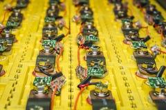Οι μπαταρίες στο ηλεκτρικό αυτοκίνητο Στοκ φωτογραφία με δικαίωμα ελεύθερης χρήσης