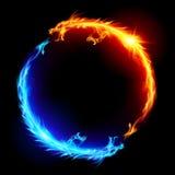 οι μπλε δράκοι βάζουν φωτιά στο κόκκινο απεικόνιση αποθεμάτων