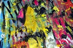Οι μπλε χρυσοί σκοτεινοί ρόδινοι παφλασμοί, ζωηρόχρωμα ζωηρά κέρινα χρώματα, αντιπαραβάλλουν το δημιουργικό υπόβαθρο Στοκ εικόνα με δικαίωμα ελεύθερης χρήσης