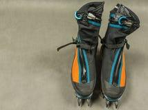 Οι μπότες ορειβασίας εγκαθίστανται με τα αυτόματα σκυλιά έλκηθρου Στοκ Εικόνες