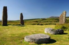 Οι μόνιμες πέτρες σε Machrie δένουν στο νησί Arran (Σκωτία) Στοκ Εικόνες