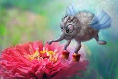 Οι μύγες μελισσών νεράιδων φαντασίας με τους κάδους του μελιού στο όμορφο κόκκινο λουλούδι συλλέγουν τη γύρη, μαγικός χαρακτήρας διανυσματική απεικόνιση