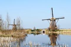 οι μύλοι της Ολλανδίας ξύ& Στοκ Εικόνα