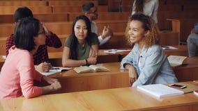 Οι νέες γυναίκες έχουν τη συνομιλία μετά από τις διαλέξεις στο κολλέγιο, τα κορίτσια μιλούν και ενώ άλλοι σπουδαστές είναι απόθεμα βίντεο