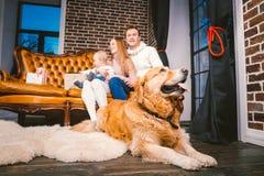 Οι νέες διακοπές έτους και Χριστουγέννων θέματος σε μια οικογενειακή ατμόσφαιρα Γιος και σκυλί μπαμπάδων οικογενειακού καυκάσιοι  στοκ εικόνα