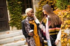 Οι νέες multiethnic γυναίκες ακούνε μουσική στην ημέρα φθινοπώρου Στοκ Εικόνες