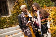 Οι νέες multiethnic γυναίκες ακούνε μουσική στην ημέρα φθινοπώρου Στοκ Φωτογραφίες