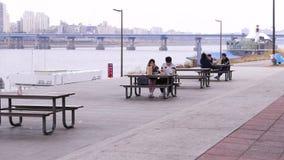 Οι νέοι κορεατικοί σπουδαστές ζευγών έχουν το μεσημεριανό γεύμα στο πάρκο, τρώγοντας μαζί έξω, Σεούλ, Νότια Κορέα φιλμ μικρού μήκους