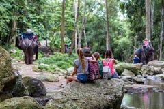 Οι νέοι τουρίστες στηρίζονται στους βράχους στη ζούγκλα Στοκ Εικόνα