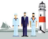 Οι ναυτικοί που στέκονται σε μια ακτή απεικόνιση αποθεμάτων