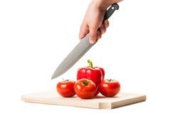 Οι ντομάτες και το κόκκινο πιπέρι έτοιμες να είναι Στοκ Φωτογραφία