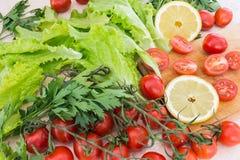Οι ντομάτες κερασιών, τα πλαστικά λεμονιών, τα φύλλα μαϊντανού και μαρουλιού που καλύπτονται με τις πτώσεις του νερού βρίσκονται  Στοκ Εικόνες