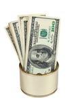 Οι λογαριασμοί αμερικανικών δολαρίων στο μέταλλο μπορούν Στοκ Εικόνες