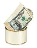 Οι λογαριασμοί δολλαρίων ΗΠΑ στο μέταλλο μπορούν Στοκ εικόνα με δικαίωμα ελεύθερης χρήσης