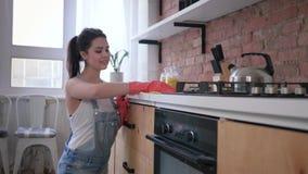 Οι οικιακές μικροδουλειές, ελκυστική γυναίκα νοικοκυρών στα λαστιχένια γάντια για τον καθαρισμό σκουπίζουν τα βρώμικα έπιπλα φιλμ μικρού μήκους